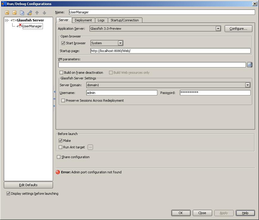 Admin port configuration not found' error while setting up Glassfish