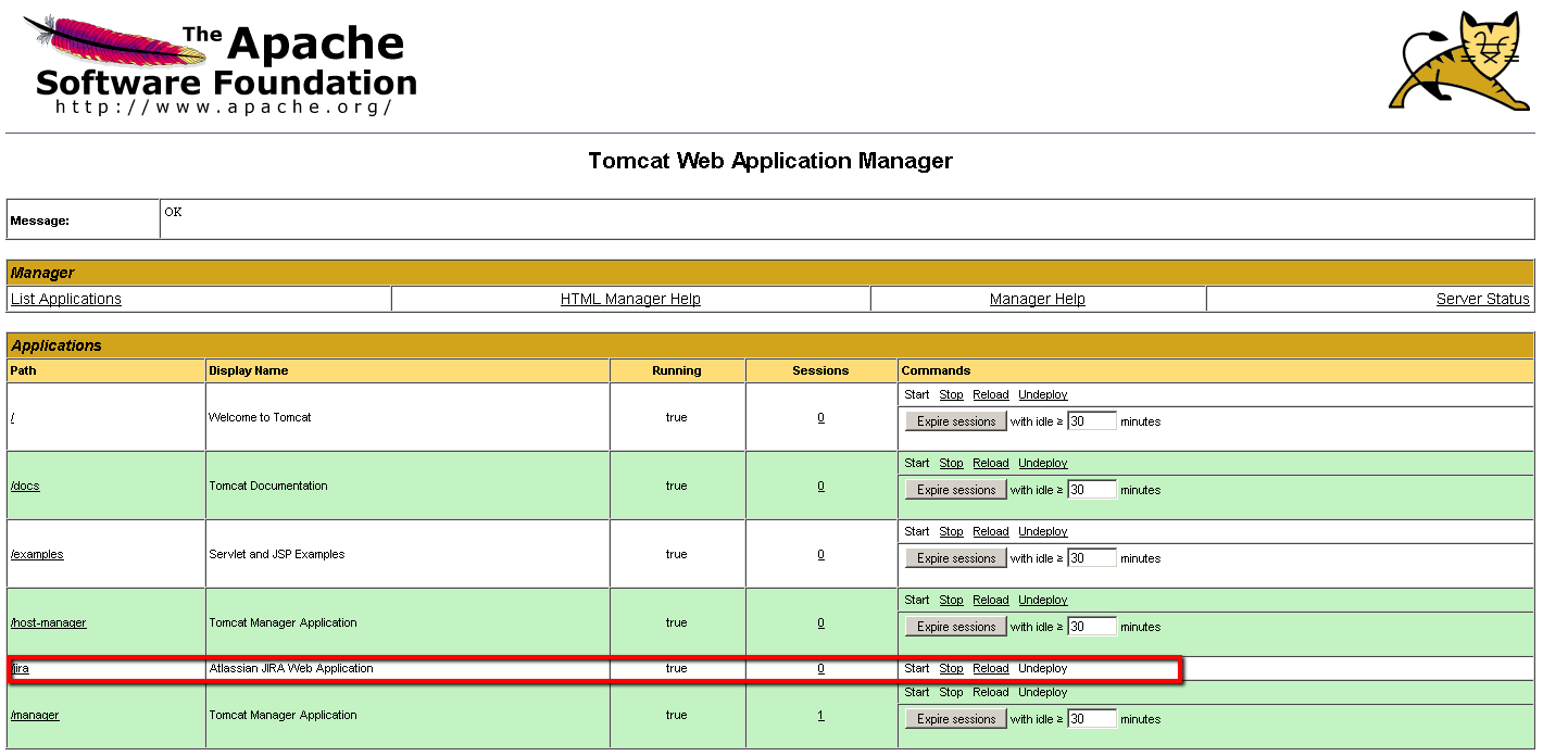 Tomcat manager Expire sessions button (Tomcat forum at