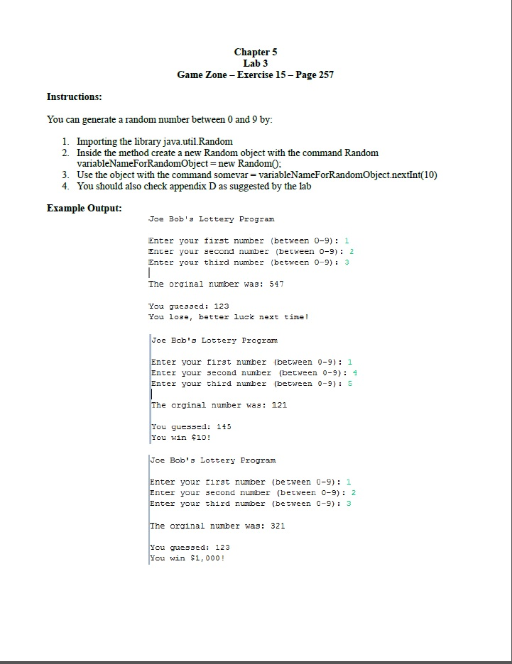 Making Decisions Lottery application (Beginning Java forum
