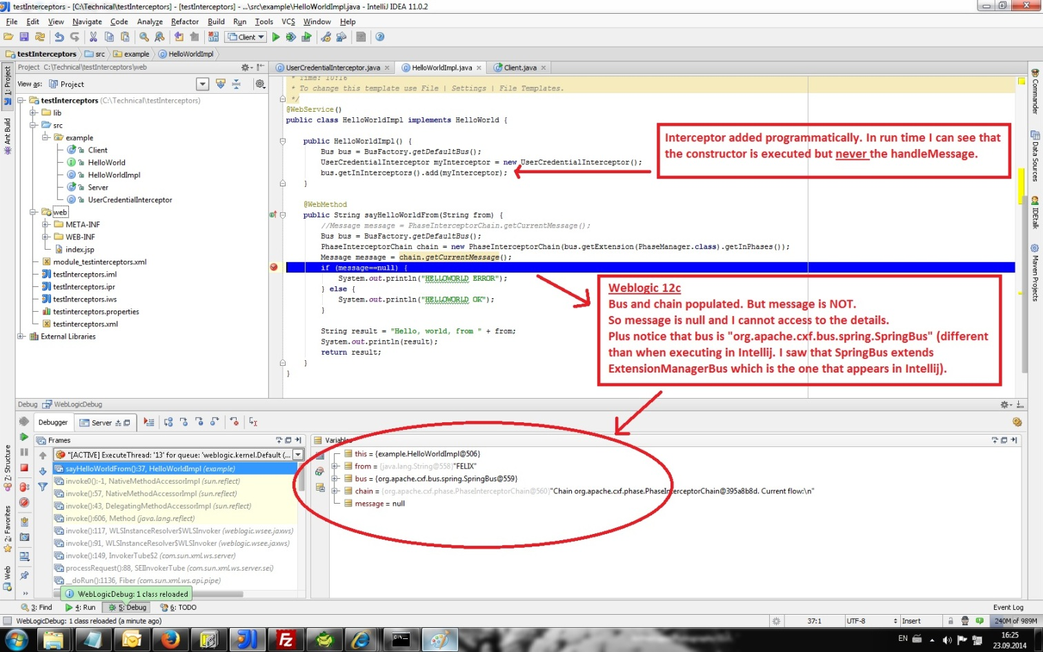 Apache CXF interceptors not triggered in WebLogic 12c ? (Web