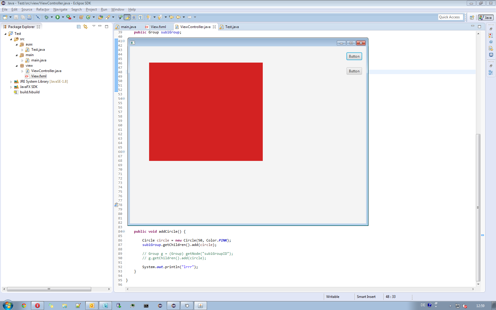 Modify the root node of subscene from different class (JavaFX forum