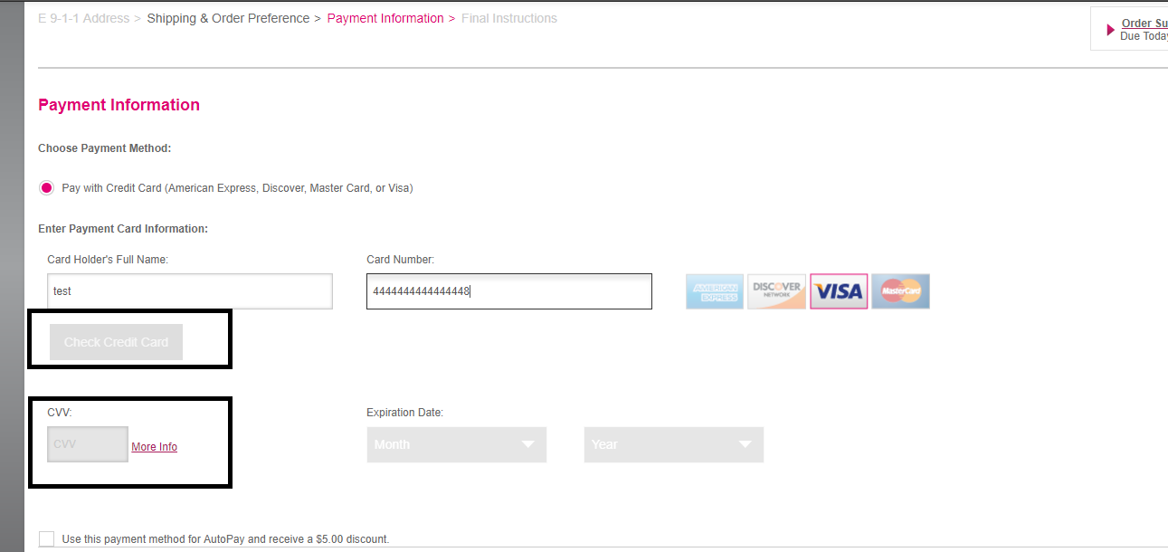 Selenium: Getting error in payment page (Testing forum at