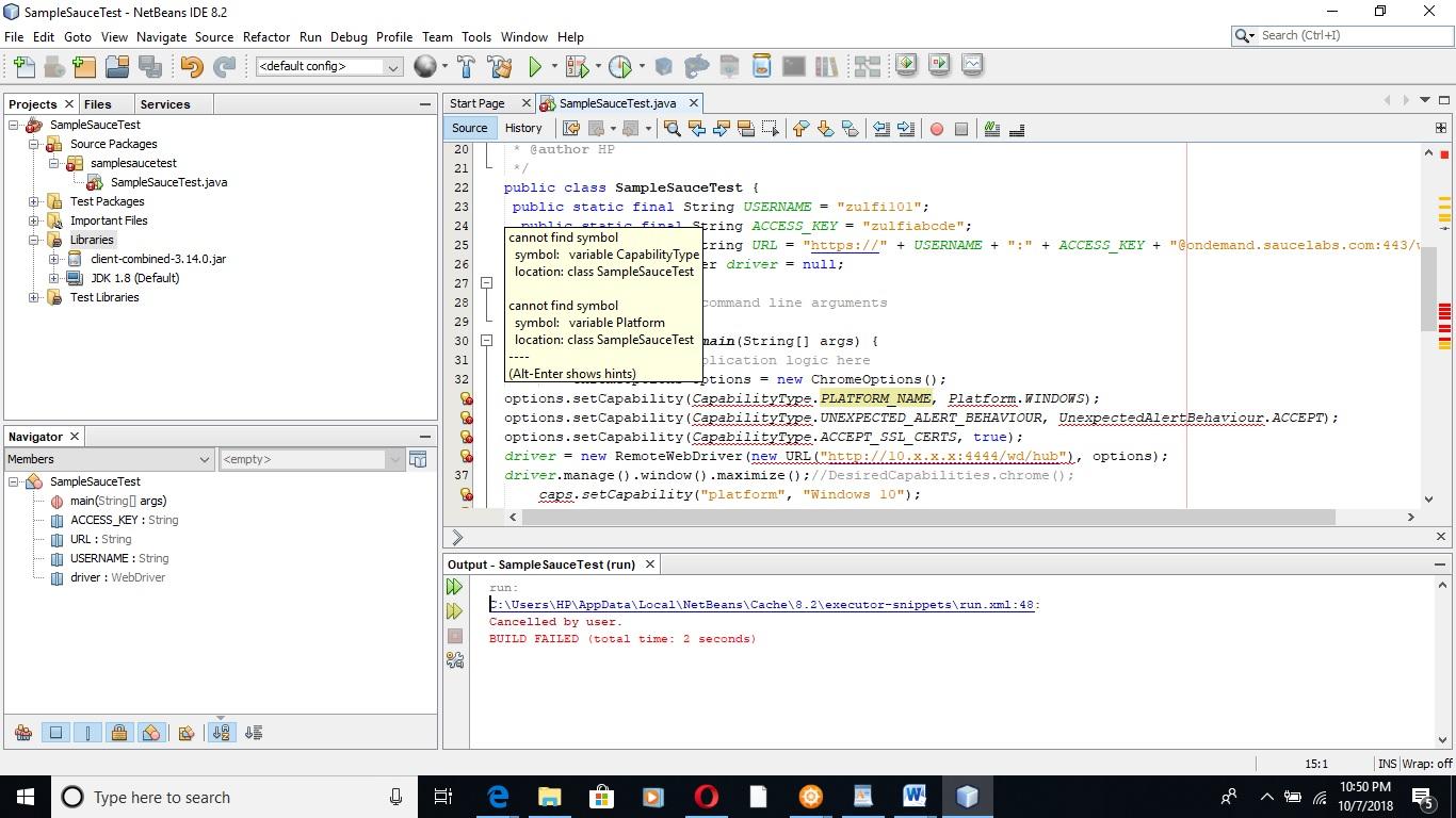 NetBeans 8 2: Selenium testing cannot find ChromOption